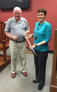 FQPM President Bob Burns presenting Queensland Police Museum Curator Lisa Jones with the QP150 Commemorative sword