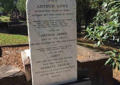 Constable Arthur Lowe – Toowong Cemetery